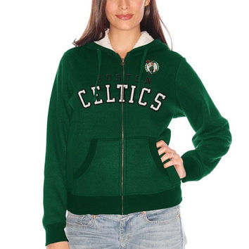 Boston Celtics Women's Sherpa Baseline Full Zip Hooded Jacket – Kelly Green
