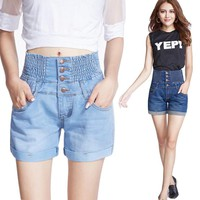 2017 New Fashion Women Hot Sale High Waist Denim Shorts Female Summer Loose Tide Thin Elastic Waist Big Yards PT026