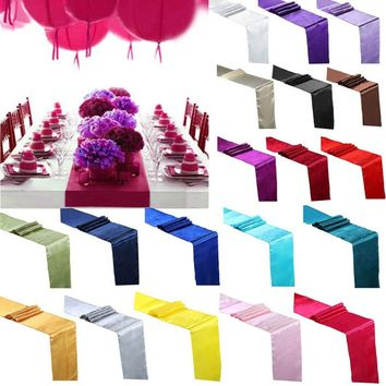 "Satin Table Runner Cloth Wedding Party Banquet Hotel Home Restaurant Venue Decor Supplies 30x275cm(12"" x 108"")"