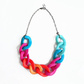 Neon Chain Statement Necklace, Polymer Clay Necklace, Oversized Chain Link Necklace