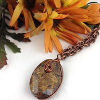 Rich Brown Copper Wire Wrapped Bronzite Gemstone Pendant Necklace