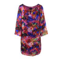 Laundry by Shelli Segal Womens Satin Printed Wear to Work Dress