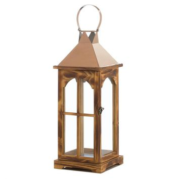 Metal Large Rose Gold Wooden Candle Holder Lantern