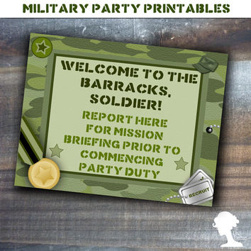 Party Printable Military Army Soldier Boot Camp Welcome Sign in Green Camouflage
