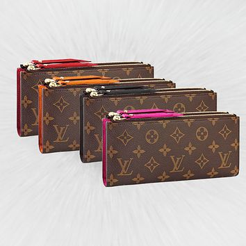 Louis vuitton fashionable ladies printed clutch bag hot seller with double zipper wallets