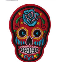 Suger Skull Iron/Sew On Embroidered Patch Badge Embroidery Halloween Motif dead | eBay