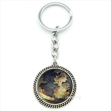 Simple vintage design high quality key chain Game of thrones westeros map art picture pendant keychain men ring jewelry  T168