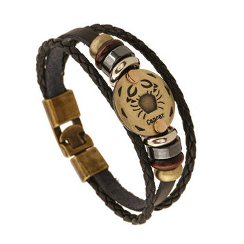 Zodiac Signs Bracelet Punk Leather Bracelet Wooden Bead + Black Gallstone For Men Charm Jewelry