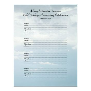 75th Anniversary Party Guest Book Sign-In Page