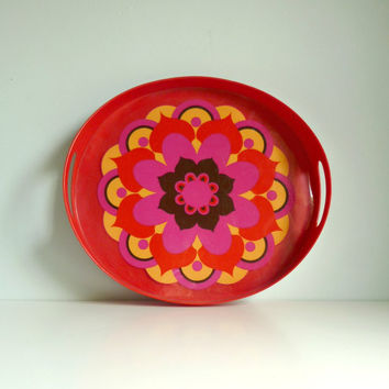 Mid Century Vintage Psychedelic Oval Tray 1970s