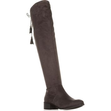 madden girl Prissley Over The Knee Tassel Stretch Boots, Grey, 8 US