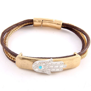 Hamsa Bar Threaded Magnetic Bracelet - Gold or Silver