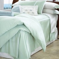 """Casilda Classic Seersucker White Percale Fitted Sheet - 15"""" Pocket, Fitted Sheets, LuxorLinens.com"""