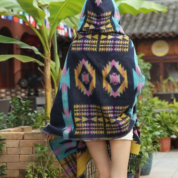 Boho Aztec Tribal Cardigan Wrap Hooded Scarf Shawl Cape