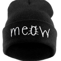 Knitted Wool Meow Hip Hop Kitty Cat Hat & Beanie