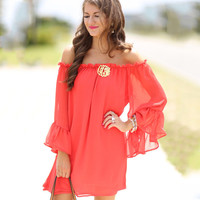 Red Slash Collar Chiffon Dress