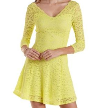 Yellow Scalloped Lace Skater Dress by Charlotte Russe