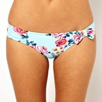 Seafolly Rococo Rose Ruched Bow Bikini Pant at asos.com