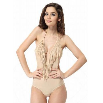 DCCKBA7 Small V-neck fringed piece swimsuit