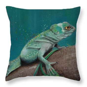 "Lizard Throw Pillow for Sale by Kathleen Wong - 14"" x 14"""