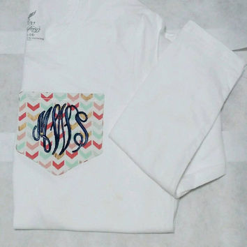 Monogrammed Fabric Pocket Long Sleeve Tee.you get to choose the colors and font.