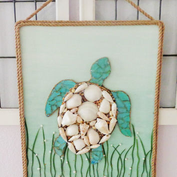 Coastal Decor- Seaturtle Beach Art- Original Ocean Wall Hanging- 16X20 inches