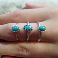 Authentic Navajo,Native American,Southwestern,sterling silver,Turquoise petite.Pinky,Knuckle ring.Can be for  Babies/toddlers.Made to order