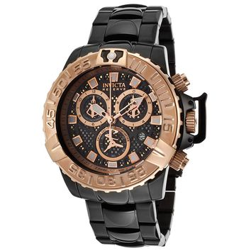 Invicta 14489 Men's Subaqua Noma II Chronograph Rose Gold Black Perforated Dial Dive Watch