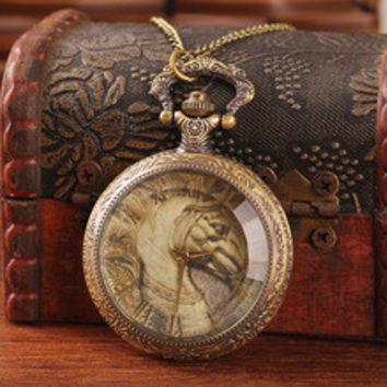 Women Antique Brass Horse Pocket Watch Steampunk Glass Face Roman Number Quartz Pocket Watches Chain Men President Watch P40