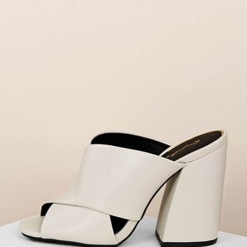 Peep Toe Criss Cross Detail Block Heel Mules