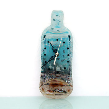 Fused glass  Wall clock ,  Glass Melted recycled Wine Bottle