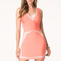 bebe Womens Contrast Edge Bandage Dress Fresh Salmon