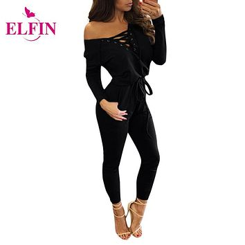 Jumpsuit Women Rompers Long Sleeve Lace Up Bodycon Body Feminino Night Club Playsuit Bodysuit Jumpsuits For Women 2016 LJ5801R