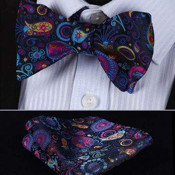 BP816V Navy Blue Pink Paisley 100%Silk Jacquard Men Butterfly Self Bow Tie BowTie Pocket Square Handkerchief Hanky Suit Set