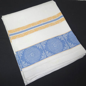 1960s Vintage Woven Blue & Yellow Striped Tablecloth with Damask Flowers, White Cotton, Vintage Linens, 1960s Home Decor, Vintage Tablecloth