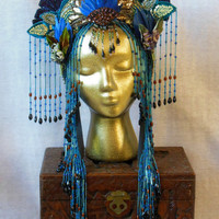 Chinese Art Nouveau Asian Geisha Fantasy Empress Queen Princess godess headpiece headdress  crown beaded fringe belly dance