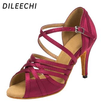 DILEECHI latin dance shoes women's light satin high quality color wine red heel 85mm soft outsole