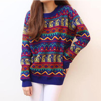 Colorful Geometric Pattern Footprint Pullover Sweater
