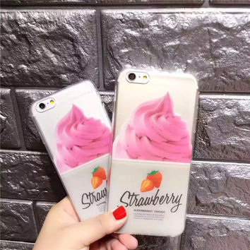 Fashion strawberry ice cream transparent phone case for iPhone 5 5s SE 6 6s 6plus 6splus 7 7plus 1018J01