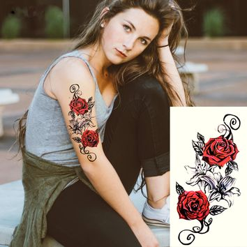 Red Roses Large Flower Henna Temporary Tattoo