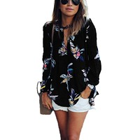 Plus Size Women's Floral Print Blouse - Spring Autumn, Summer
