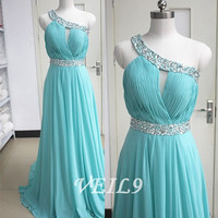 2015 One shoulder Turquoise bridesmaid Dresses Long Chiffon Prom Evening formal Dresses Plus size homecoming dress custom made beading dress