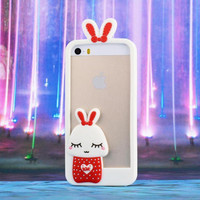"2017 New Cartoon 3D Soft Cute Silicone Rabbit Bunny Case For iPhone 7 5 5S SE 4 4S 6 6S 7 Plus 4.7"" 5.5"" Lovely Rabito Phone Back Cover -0329"