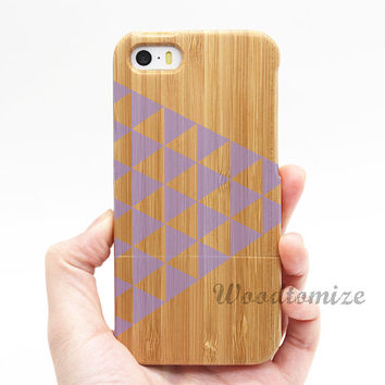 Real wood couple case, triangle pattern, iPhone 5C case, iPhone 5S 5 case, Wood cover, Bamboo, FREE screen protector