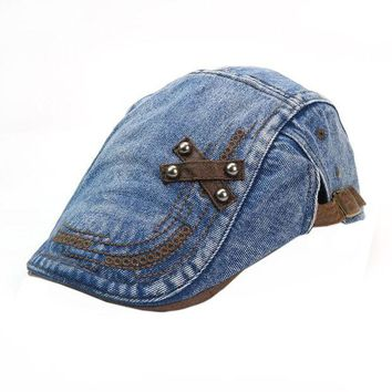 LMF78W 2017 Snapback Mens Women Vintage Denim Beret Cap Peaked Newsboy Sunscreen hip hop Hats dad hat #LSN