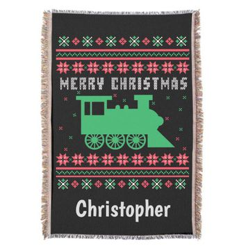Train Ugly Christmas Sweater Throw Blanket
