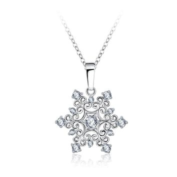 Exquisite Snowflake Pendant Necklace Silver Plated with Zirconia Jewelry Valentine's Day Gift Christmas