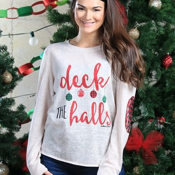 Deck the Halls Beige Tunic with Plaid Elbow Patches