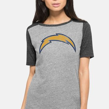 Junior Women's 47 Brand 'San Diego Chargers - Empire' Short Sleeve Graphic Tee,