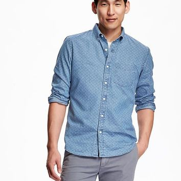 Old Navy Mens Slim Pin Dot Chambray Shirt